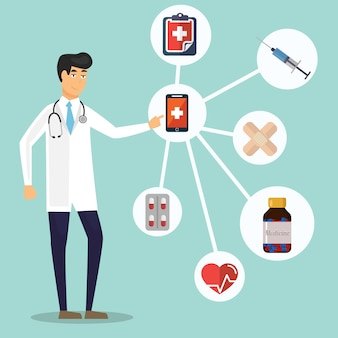 Fundo de conceito de saúde e médico