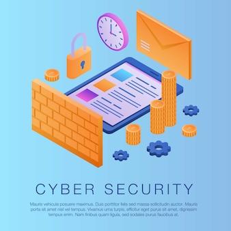 Fundo de conceito de segurança cibernética, estilo isométrico