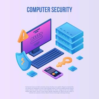 Fundo de conceito de segurança de computador, estilo isométrico