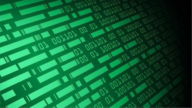 Fundo de conceito de tecnologia futura de circuito binário verde verde