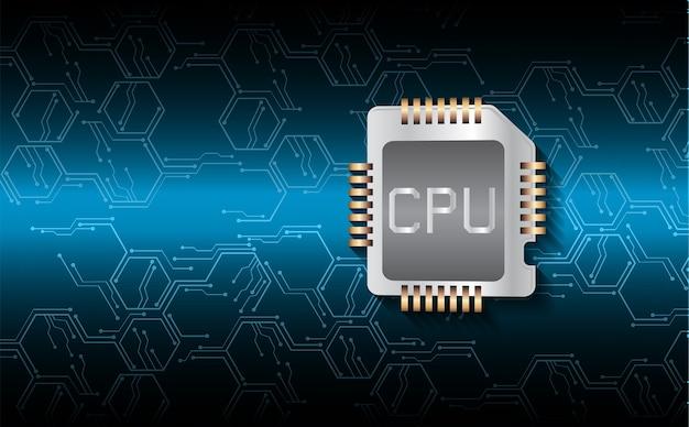 Fundo de conceito de tecnologia futura de circuito cibernético de cpu azul