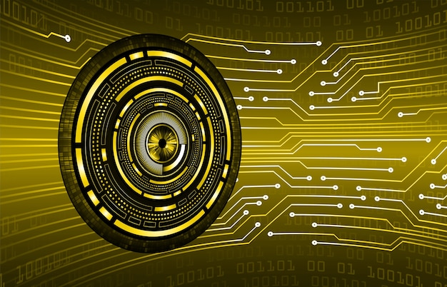 Fundo de conceito de tecnologia futura de circuito cibernético de olho amarelo