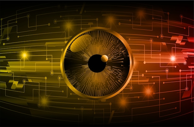 Fundo de conceito de tecnologia futura de circuito cibernético de olho laranja