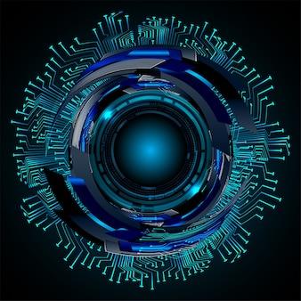 Fundo de conceito de tecnologia futura de circuito cibernético de olhos azuis