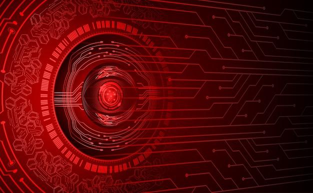 Fundo de conceito de tecnologia futura de circuito cibernético de olhos vermelhos