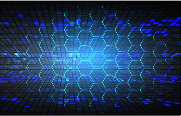 Fundo de conceito de tecnologia futura de circuito cibernético hexágono azul