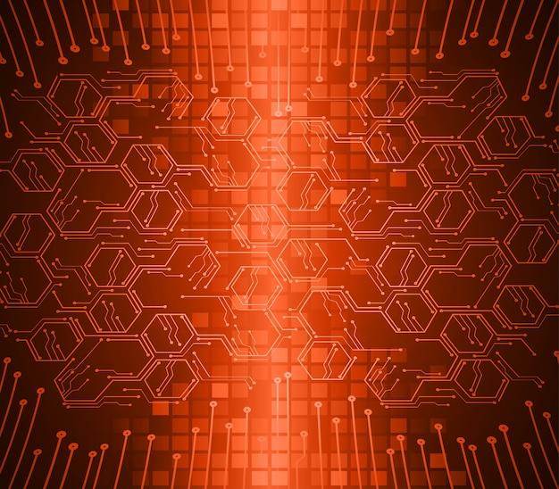 Fundo de conceito de tecnologia futura de circuito cibernético hexágono laranja