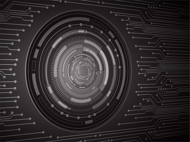 Fundo de conceito de tecnologia futura de circuito cibernético olho roxo
