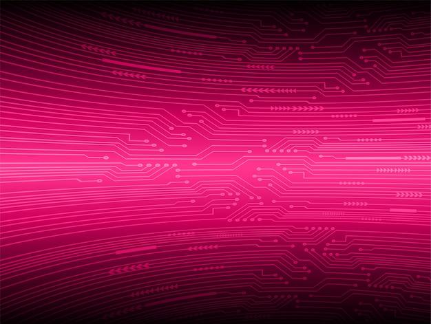Fundo de conceito de tecnologia futura de circuito cibernético rosa