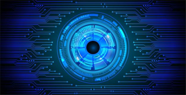 Fundo de conceito de tecnologia futura de circuito de olho azul
