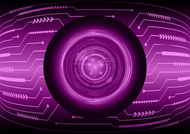 Fundo de conceito de tecnologia futura de circuito de olho roxo