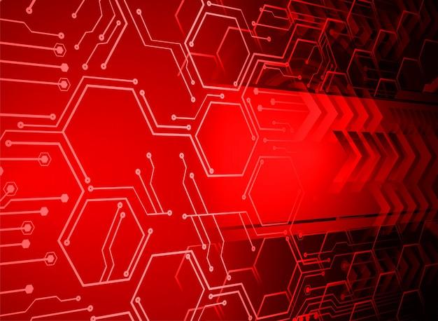Fundo de conceito de tecnologia futura de circuito vermelho cyber