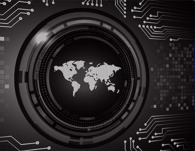 Fundo de conceito de tecnologia futura do mundo preto circuito cibernético