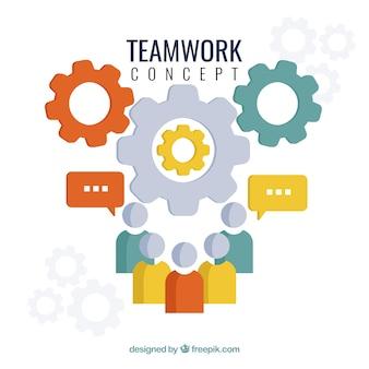 Fundo de conceito de trabalho em equipe em design plano