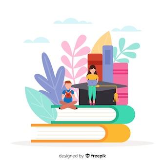 Fundo de conceito de universidade plana colorida