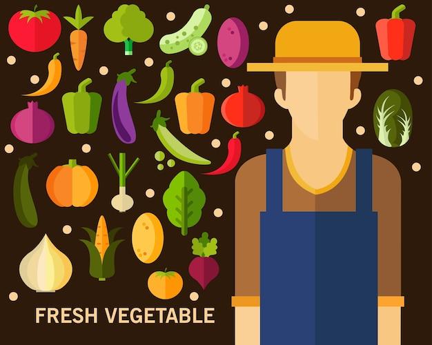 Fundo de conceito de vegetais frescos. ícones planas.