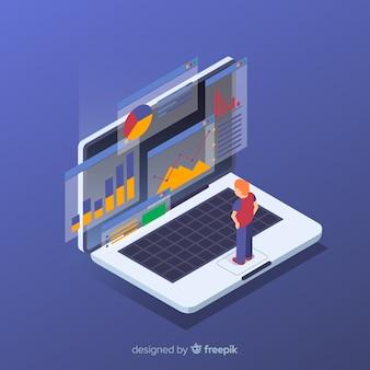 Fundo de conceito de visualização de dados isométrica