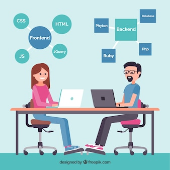 Fundo de conceito de web design com trabalhadores