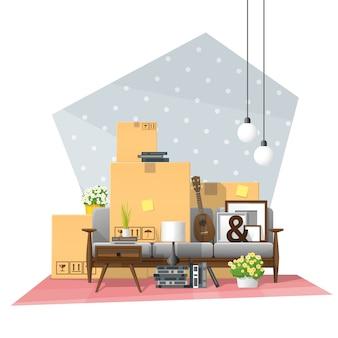 Fundo de conceito em casa em movimento