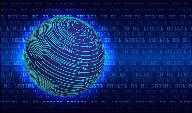 Fundo de conceito futuro tecnologia azul mundo cyber circuito