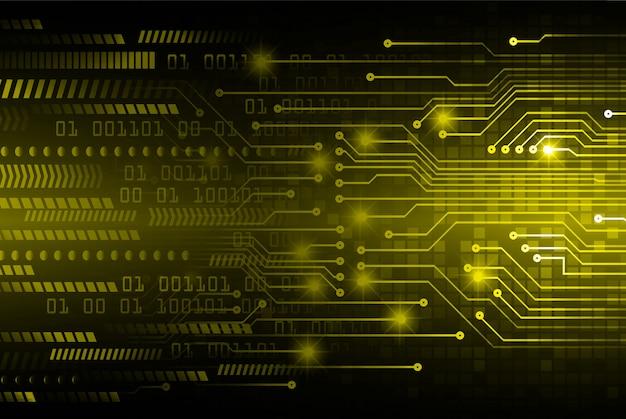 Fundo de conceito futuro tecnologia cyber circuito amarelo