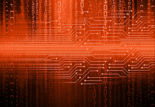 Fundo de conceito futuro tecnologia de circuito laranja cyber