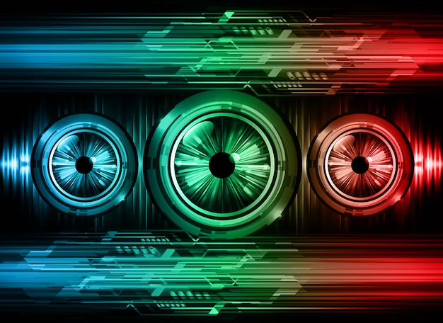 Fundo de conceito futuro tecnologia olho azul vermelho olho cyber circuito