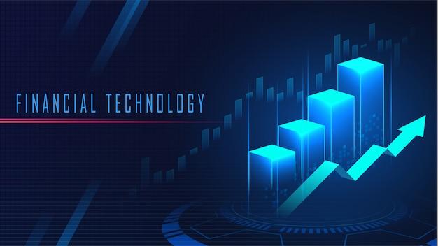 Fundo de conceito gráfico de tecnologia financeira