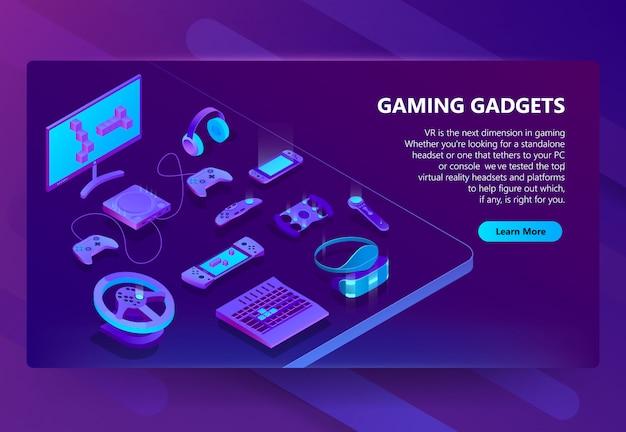 Fundo de conceito isométrica de gadgets de jogos