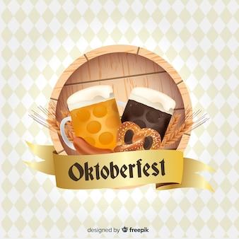 Fundo de conceito oktoberfest com cervejas e pretzels