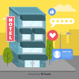 Fundo de conceito plana hotel revisão