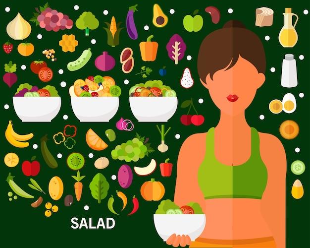 Fundo de conceito salada fresca. ícones planas