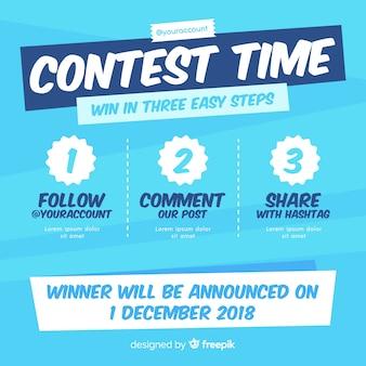 Fundo de concurso de mídia social com etapas