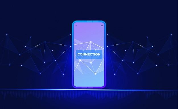 Fundo de conexão com a internet. com smartphone, low poly, ponto, círculo, linha, luz