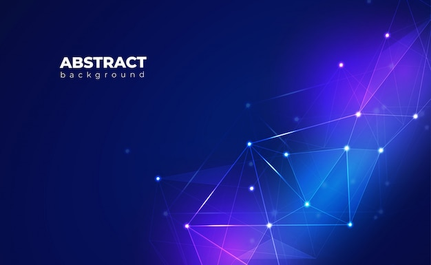 Fundo de conexão de rede. com baixo poli, ponto, círculo, linha, luz. pano de fundo da tecnologia digital