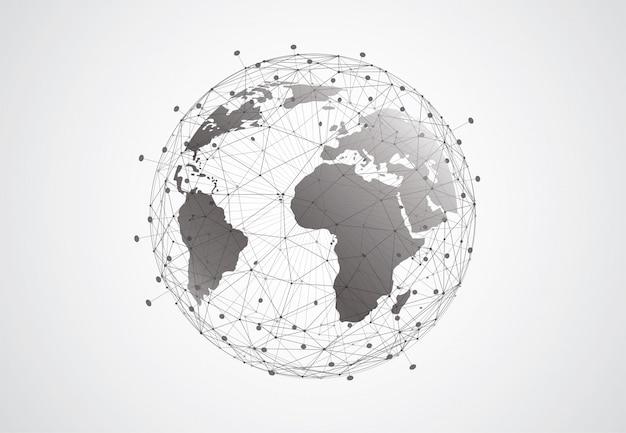 Fundo de conexão de rede global. ponto de mapa do mundo e composição de linha