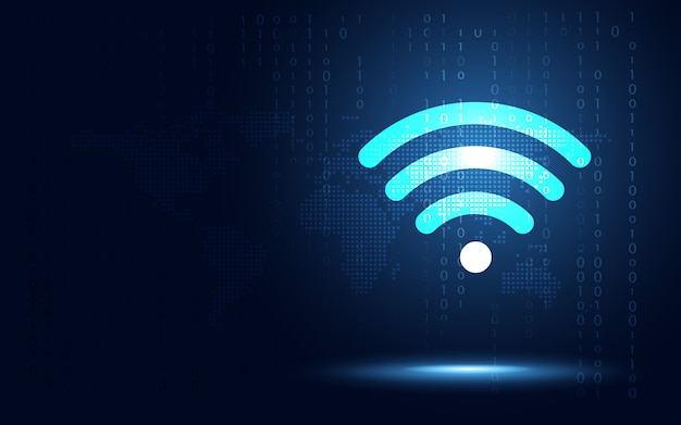 Fundo de conexão sem fio azul futurista