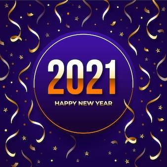 Fundo de confete colorido de ano novo 2021