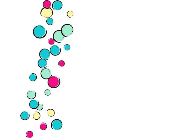 Fundo de confete com bolinhas de arte pop em quadrinhos. grandes manchas coloridas, espirais e círculos em branco. ilustração vetorial. respingo infantil de espectro para festa de aniversário. fundo de confete do arco-íris.