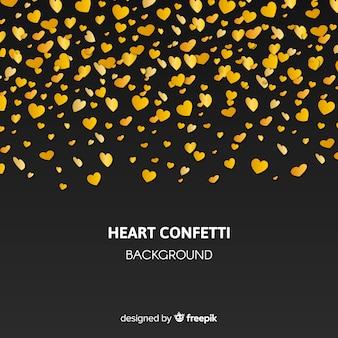 Fundo de confete dourado coração