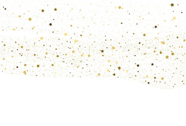 Fundo de confete luz glitter dourados. papel digital de estrelas douradas. textura branca de férias