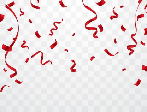 Fundo de confete vermelho que é cardado para decorar vários festivais