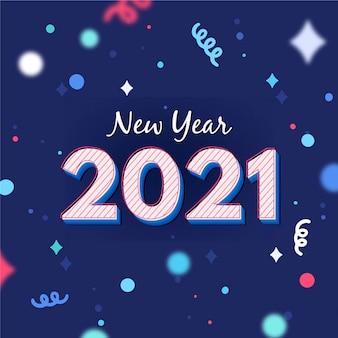 Fundo de confetes coloridos de ano novo 2021