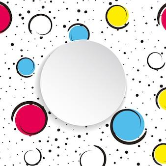 Fundo de confetes coloridos pop art. grandes manchas e círculos coloridos