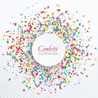Fundo de confetes com design de espaço de texto