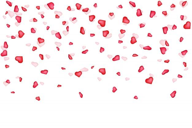 Fundo de confetes de coração