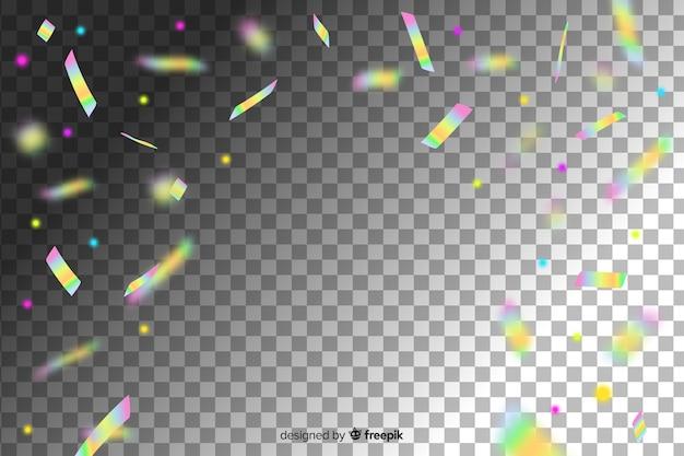 Fundo de confetes de decoração de cor holográfica