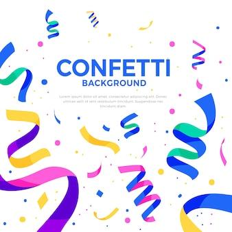 Fundo de confetes em design plano