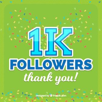 Fundo de confetes verde de seguidores de 1k