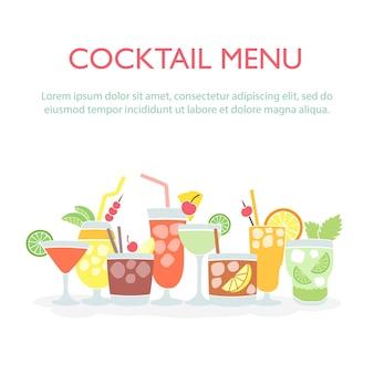 Fundo de conjunto de bebidas coloridas